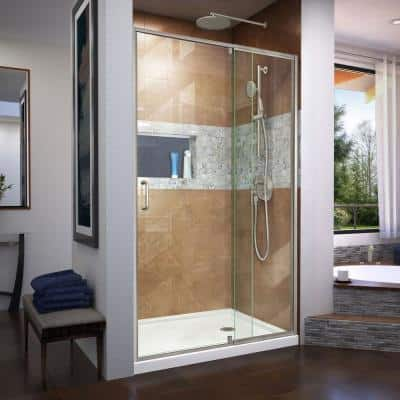 Flex 44-48 in. W x 72 in. H Semi-Frameless Pivot Shower Door in Brushed Nickel
