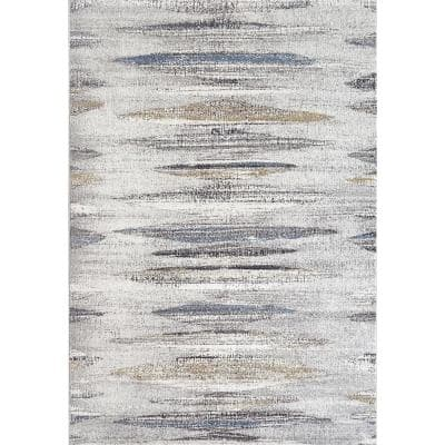 Avenue Grey/Blue 7 ft. 10 in. x 11 ft. 2 in. Modern Polypropylene Area Rug