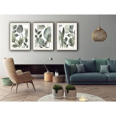 30 in. x 24 in. 'WATER LEAVES II' by June Erica Vess Framed Wall Art