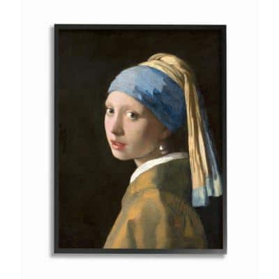 """11 in. x 14 in. """"Vermeer Girl With A Pearl Earring Classical Portrait Painting"""" by Johannes Vermeer Framed Wall Art"""