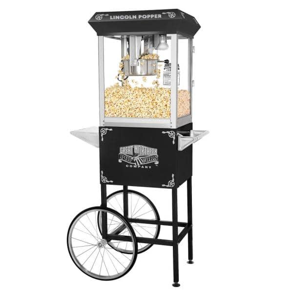 Great Northern 850 W 8 Oz Black Lincoln Popcorn Machine With Cart 137606fjx The Home Depot