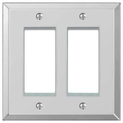 Acrylic 2 Gang Rocker Acryilic Wall Plate - Polished Mirror