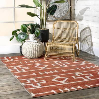 Holland Tribal Symbols Rust 6 ft. x 9 ft. Indoor/Outdoor Area Rug