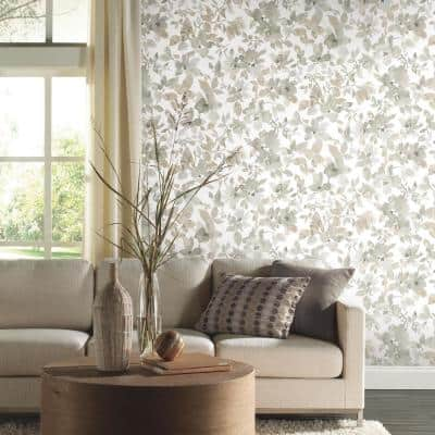 Neutral Watercolor Tan Floral Vinyl Peel & Stick Wallpaper Roll (Covers 28.18 Sq. Ft.)