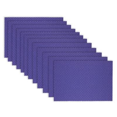 19 in. x 13 in. Reversible Indoor Outdoor Tonal Placemats Cobalt PVC and Polyester Blend (Set of 12)