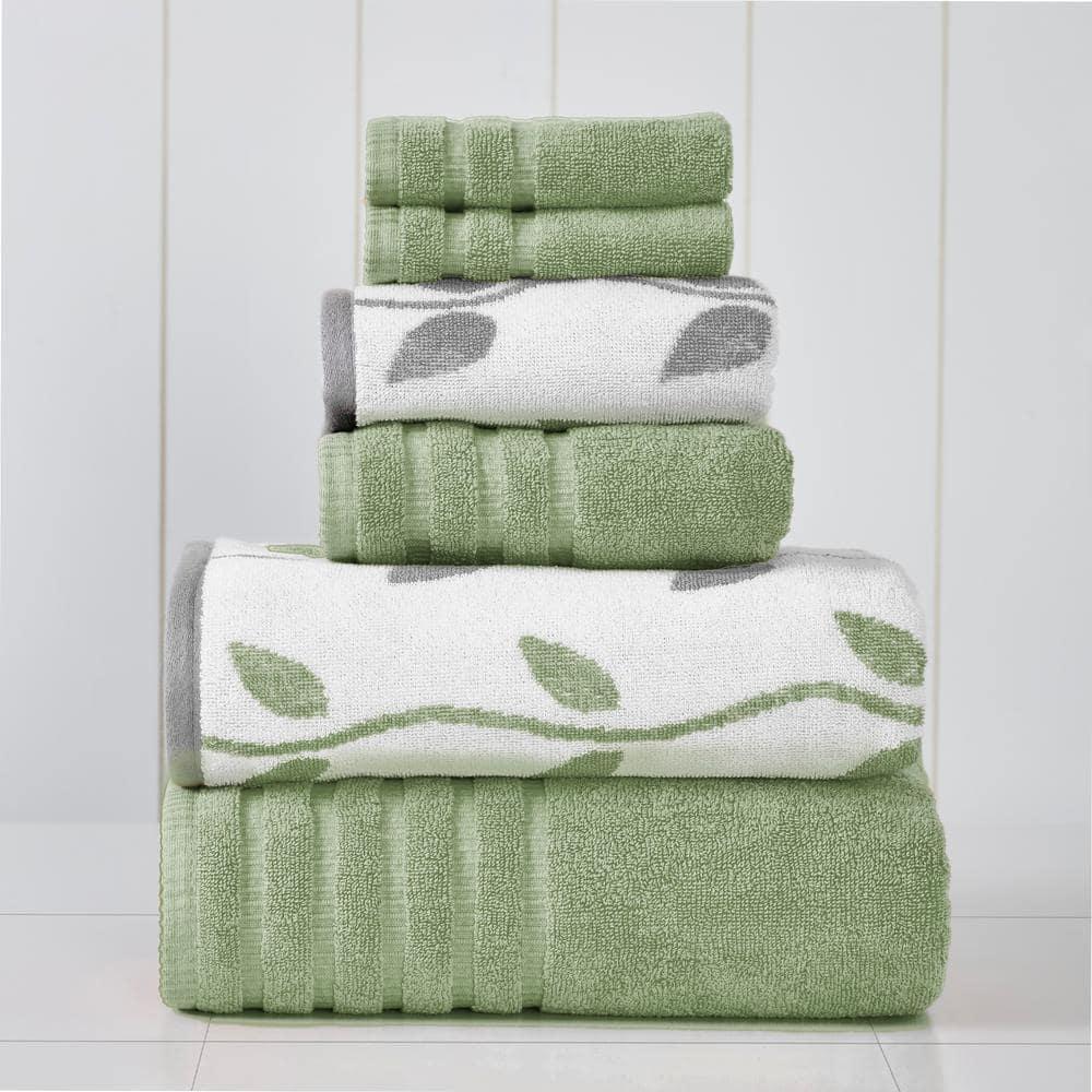 Modern Threads 6 Piece Organic Vines Sage Green Yarn Dyed Towel Set 5ydjqorg Sge St The Home Depot