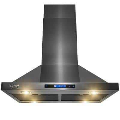 30 in. 343 CFM Convertible Kitchen Island Mount Range Hood in Black Stainless Steel Touch Control