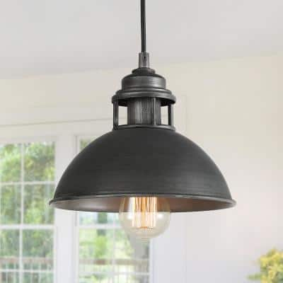 1-Light Dark Pewter Mini Pendant with Modern Industrial Dome Shade LED Compatible Barn Ceiling Pendant Light