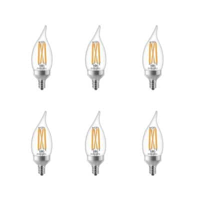 75-Watt Equivalent BA11 Dimmable Warm Glow Dimming Effect LED Candle Light Bulb Bent Tip E12 Soft White (2700K) (6-Pack)