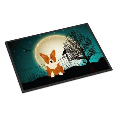 24 in. x 36 in. Indoor/Outdoor Halloween Scary Corgi Door Mat