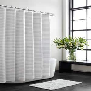 Interdesign Carlton Stall Size Shower Curtain In White 22880 The Home Depot