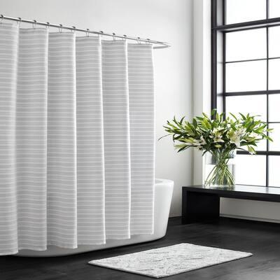VW Textured Stripe White Cotton 72in. X 70in. Shower Curtain