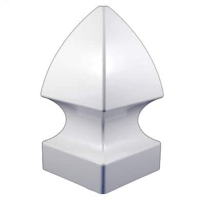 4 in. x 4 in. White Vinyl Gothic Post Cap