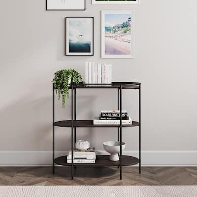 Paloma Dark Oak and Black 3-Shelf Small Modern Oval Bookshelf or Unique Entryway Bookcase