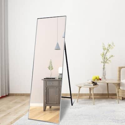 TA 63.2 in. x 22.2 in. Silver Modern Rectangle Metal Framed Full-Length Standing Mirror