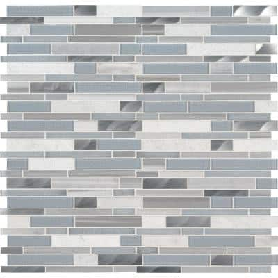 Harlow Interlocking 12 in. x 12 in. x 8 mm Stone/Glass/Metal Mesh-Mounted Multi-Surface Mosaic Tile (1 sq. ft.)