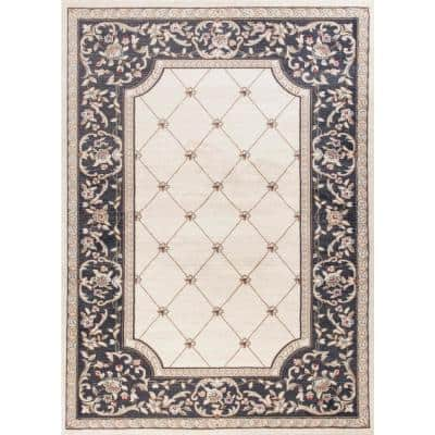 Alessa Ivory/Grey 5 ft. x 8 ft. Area Rug