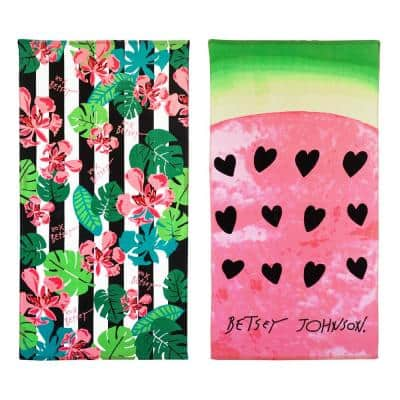 Tropical Life and Watermelon Cotton 2-Piece Beach Towel Set