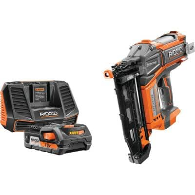 18-Volt Cordless Brushless HYPERDRIVE 16-Gauge 2-1/2 in Straight Nailer, 2 Ah Battery, Charger, Nails, Belt Clip and Bag