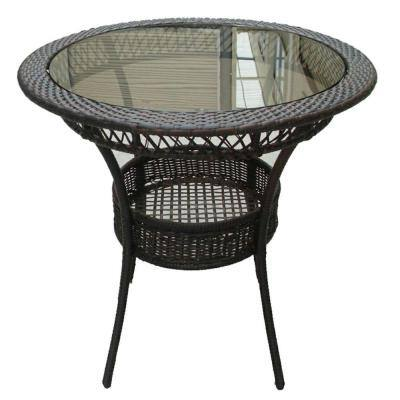 Figi Multi-Brown Round Wicker Outdoor Dining Table