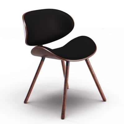 Marana Mid Century Modern Dining Chair in Black Faux Leather