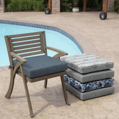 Denim Alair Texture Square Outdoor Seat Cushion