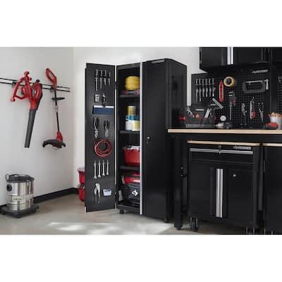 Ready-to-Assemble 24-Gauge Steel Freestanding Garage Cabinet in Black (30 in. W x 72 in. H x 18 in. D)