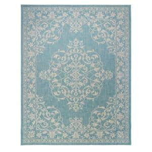 Paseo Ryoan Oasis/Sand 9 ft. x 13 ft. Medallion Indoor/Outdoor Area Rug