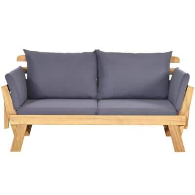 Wood Outdoor Convertible Loveseat with Gray Cushions