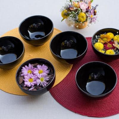 Actual 20.29 oz. Black Earthenware Soup Bowls (Set of 12)