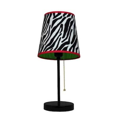 15 in. Black and Pink Zebra Fun Prints Table Lamp