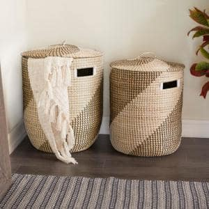 16 in. x 18 in. x 24 in. Brown Sea Grass Contemporary Storage Basket (Set of 2)