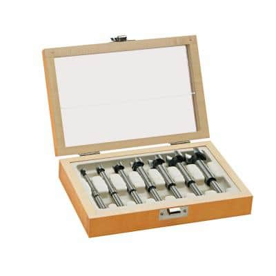 Forstner Drill Bit Set with Wood Case (7-Piece)