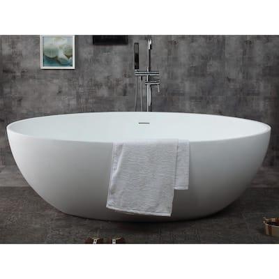 AB9941 67 in. Resin Flatbottom Bathtub in Matte White