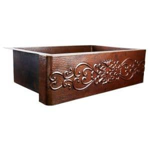 Pauling Farmhouse Apron Front Handmade Pure Copper 25 in. Single Bowl Kitchen Sink with Scroll Design