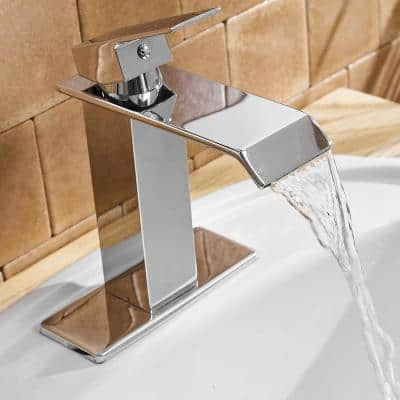 Waterfall Commercial Spout 1-Hole Single Handle Bathroom Sink Faucet in Oil Rubbed Chrome Deck Mount Lavatory