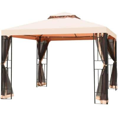 10 ft. x 10 ft. 2 Tier Vented Metal Canopy Gazebo with Mosquito Netting