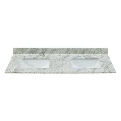 61 in. W x 22 in. D x .75 H Granite Double Basin Vanity Top in Glacier White with White Basins