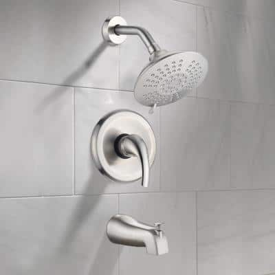 Single-Handle 5-Spray Tub and Shower Faucet with Handle Trim in Brushed Nickel (Valve Included)