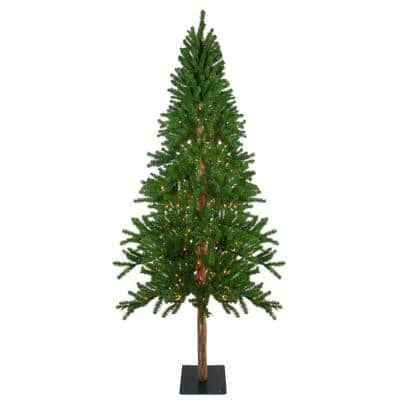 7 ft. Pre-Lit Alpine Artificial Christmas Tree with Clear Lights