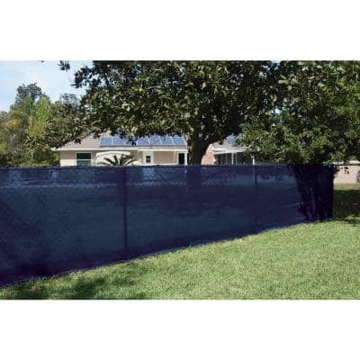 44 in. x 50 ft. Mesh Fabric Privacy Fence Screen with Integrated Button Hole in Blue