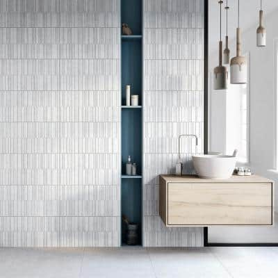 Sassi 25 in. x 13 in. White Glazed Porcelain Decorative Wall Tile (2.15 sq. ft. / each)