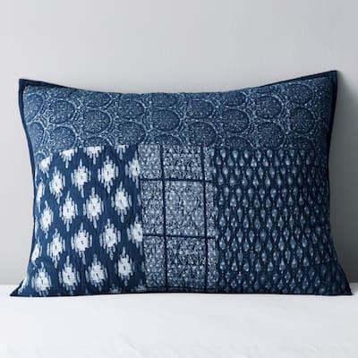 Dara Indigo Geometric Cotton Patchwork King Sham