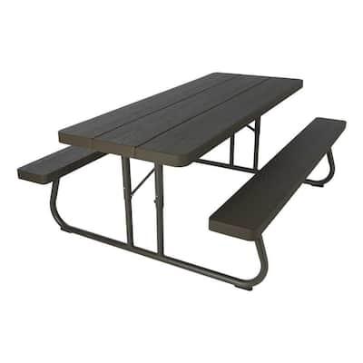6 ft. Wood Grain Folding Picnic Table