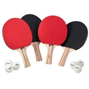 Table Tennis Racket 4-Pack Set with 6 Balls