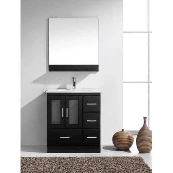 Virtu Usa Zola 30 In W Bath Vanity In Espresso With Ceramic Vanity Top In White With Square Basin And Mirror And Faucet Ms 6730 C Es The Home Depot