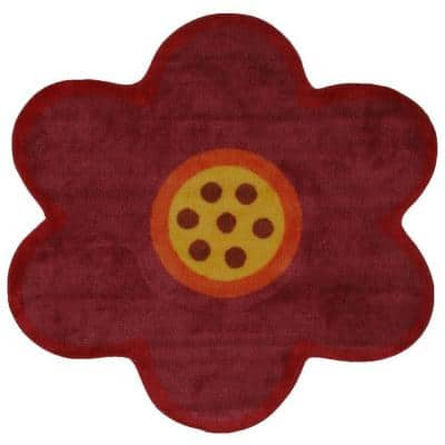 Fun Time Shape Pink Poppy 3 ft. x 3 ft. Area Rug