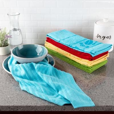 Multi-Color Kitchen Icon Design Chic Pattern Weave Cotton Kitchen Towel Set (8-Pieces)