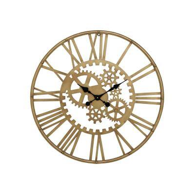 Gold Metal Industrial Wall Clock