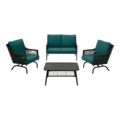 Bayhurst 4-Piece Black Wicker Outdoor Patio Conversation Seating Set with CushionGuard Malachite Green Cushions